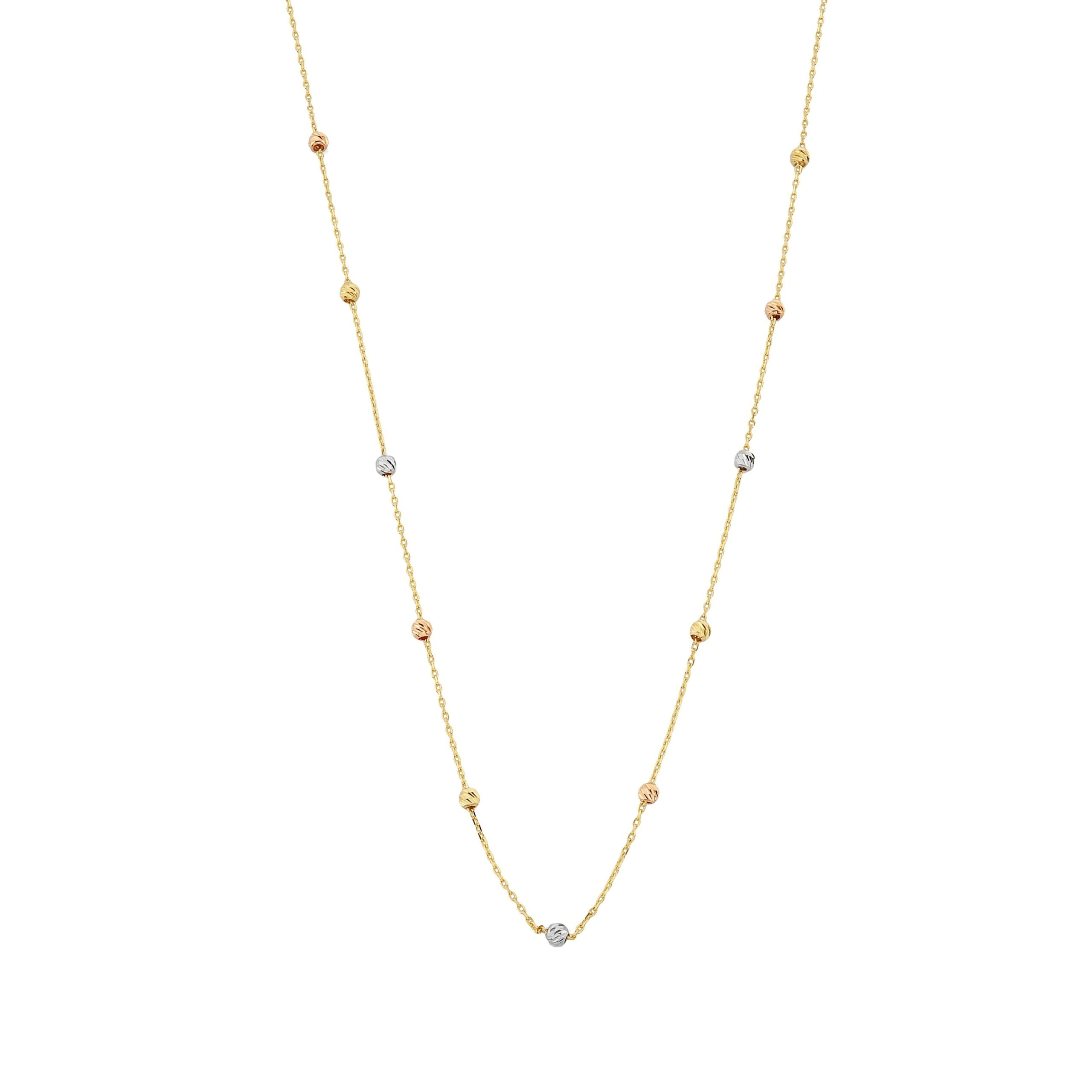 Row Chain Beaded Italian Balls Charm Dainty Delicate Necklace for Women 14K Real Solid Gold Christmas Birthday Mother's Day Gift