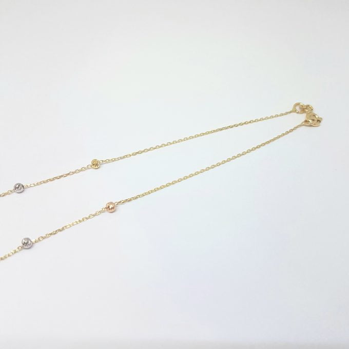 Row Chain Beaded Italian Balls Charm Dainty Delicate Necklace for Women 14K Real Solid Gold