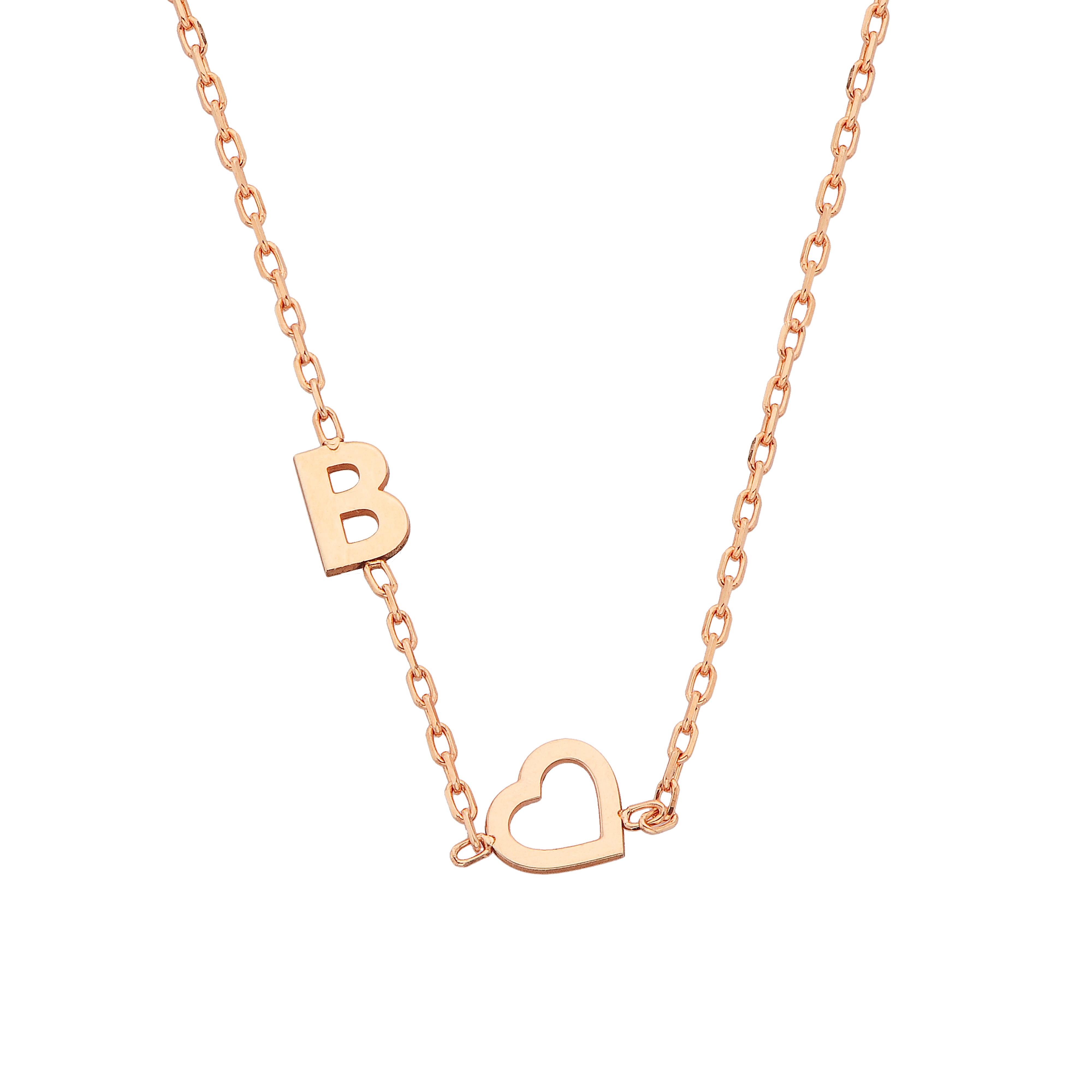 Sideway Heart Initial Necklace , Heart Letter Necklace , Custom Letter Necklace , Initial Necklace With Heart