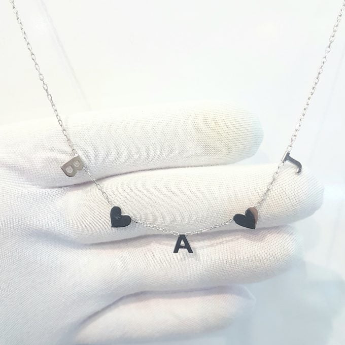 Initials Necklace with Hearts , Initial Heart Necklace , Heart Letter Necklace , Custom Letter Necklace , Initial Heart Necklace for Women