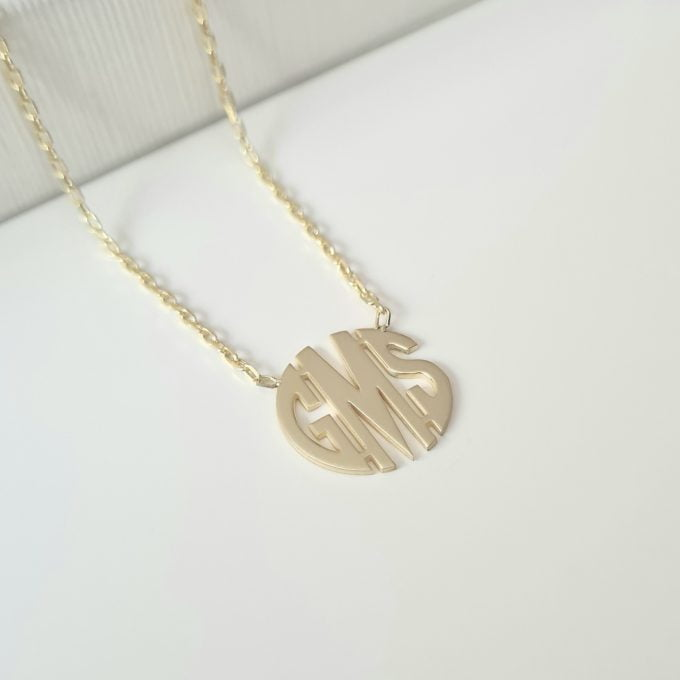 Three Letter Necklace , Circle Monogram Necklace , Custom Initial Necklace , Initial Necklace , Personalized Word Necklace