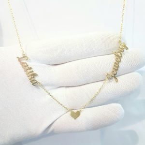 Two Name Necklace with Heart , Couples Name Necklace , Gold Name Necklace , Personalized jewelry , Personalized Name Necklace with Heart