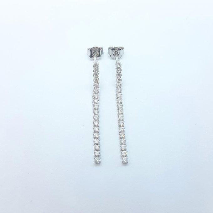 14K Real Solid Gold Long CZ Stud Tennis Earrings for Women , Dainty CZ Stud Earrings , Long Chain Links Earrings , Gift for Her