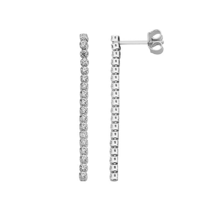 14K Real Solid Gold Long CZ Stud Tennis Earrings for Women , Dainty CZ Stud Earrings birthday gift