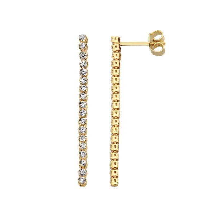 14K Real Solid Gold Long CZ Stud Tennis Earrings for Women , Dainty CZ Stud Earrings xmas christmas gift