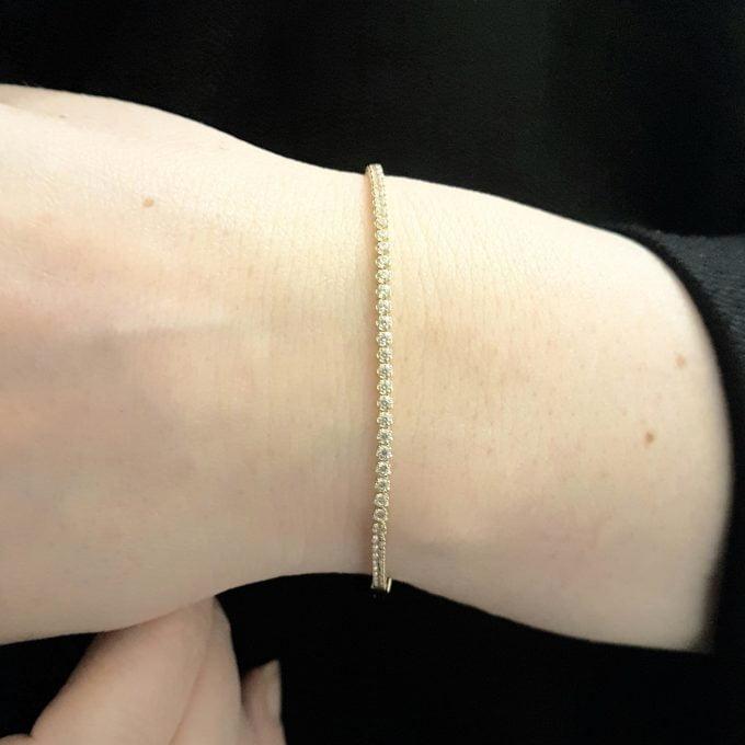 14K Real Solid Gold Tennis Bracelet for Women , CZ Eternity Tennis Bracelet