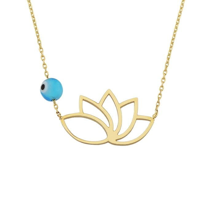 14k Real Solid Gold Lotus Necklace for Women   Lotus Flower Pendant with Evil Eye Birthda gift Mother's day christmas