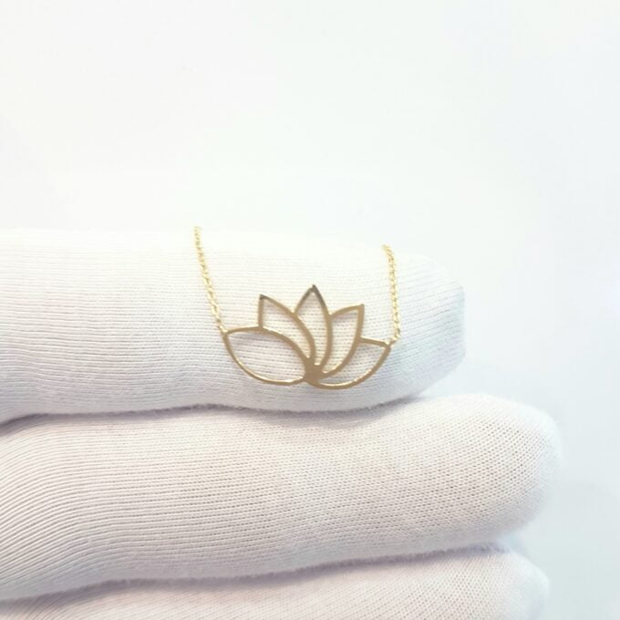14k Real Solid Gold Lotus Necklace for Women | Lotus Flower Pendant with Evil Eye Birthday Gift