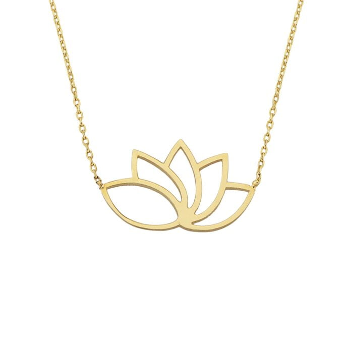 14k Real Solid Gold Lotus Necklace for Women   Lotus Flower Pendant with Evil Eye Birthday Gift xmas luck lucky