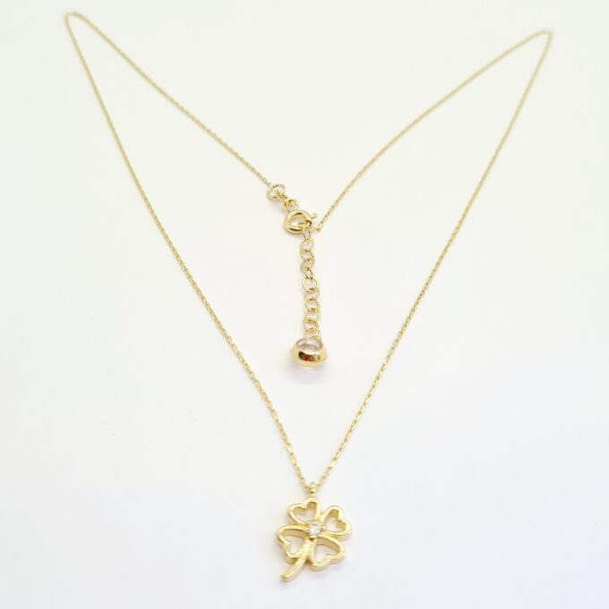 14K Real Solid Gold CZ Clover Pendant Necklace for Women , Good Luck Charm Necklace ,CZ Four Leaf Clover Necklace , Shamrock Necklace Gold