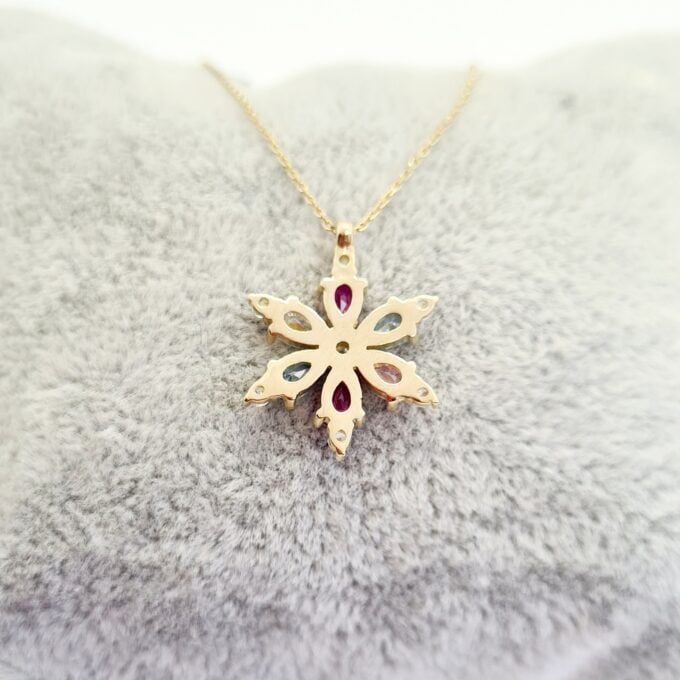 14K Real Solid Gold CZ Flower Charm Necklace for Women , Flower Jewellery , Floral Pendant Gold , Snowflake Necklace Bridesmaid Gift birthday gift