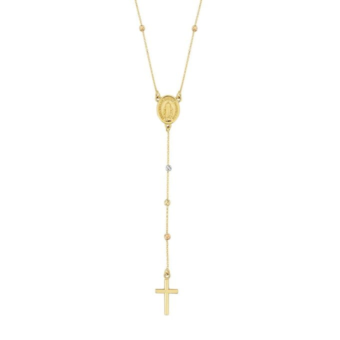 14K Real Solid Gold Cross & Virgin Mary Necklace , Holy Virgin Mary Cross Necklace , Gold Mary Cross Necklace , Dainty Long Y Necklace for Women