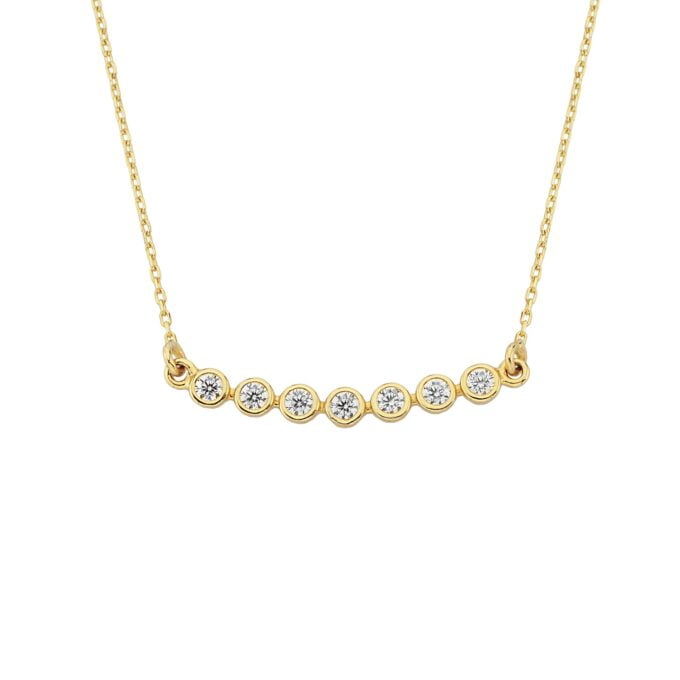 14K Solid Gold Curved Bar Necklace with Cubic Zirconia , CZ Bezel Curved Necklace for Women , Bridesmaid Gift , Sparkle CZ Pave Bar Necklace