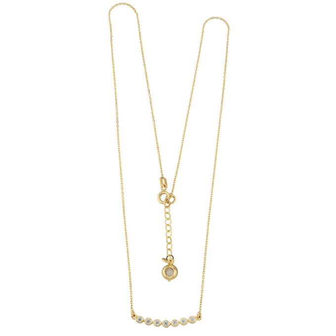 14K Solid Gold Curved Bar Necklace with Cubic Zirconia , CZ Bezel Curved Necklace for Women , Bridesmaid Gift , Sparkle CZ Pave Bar Necklace christmas gift