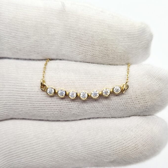 14K Solid Gold Curved Bar Necklace with Cubic Zirconia , CZ Bezel Curved Necklace for Women , Bridesmaid Gift , Sparkle CZ Pave Bar Necklace cluster