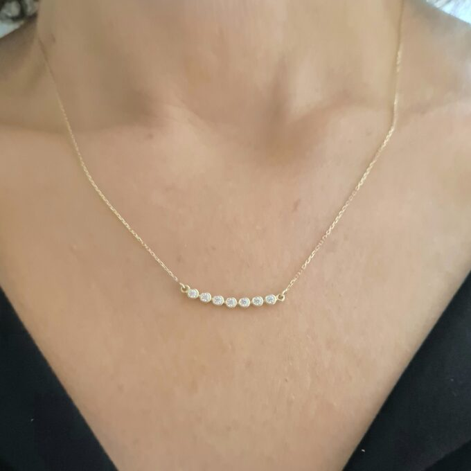 14K Solid Gold Curved Bar Necklace with Cubic Zirconia , CZ Bezel Curved Necklace for Women , Bridesmaid Gift , Sparkle CZ Pave Bar Necklace infirnity