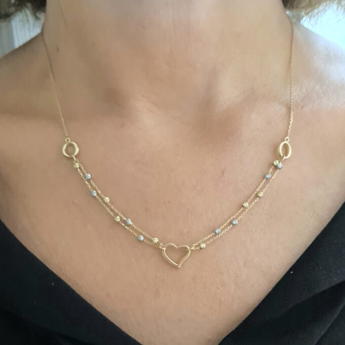 14K Real Solid Gold Heart Necklace for Women | Love Heart Pendant with Balls | Open Heart Necklace | 14Kt Charm Layered Double Chain Heart Necklace.