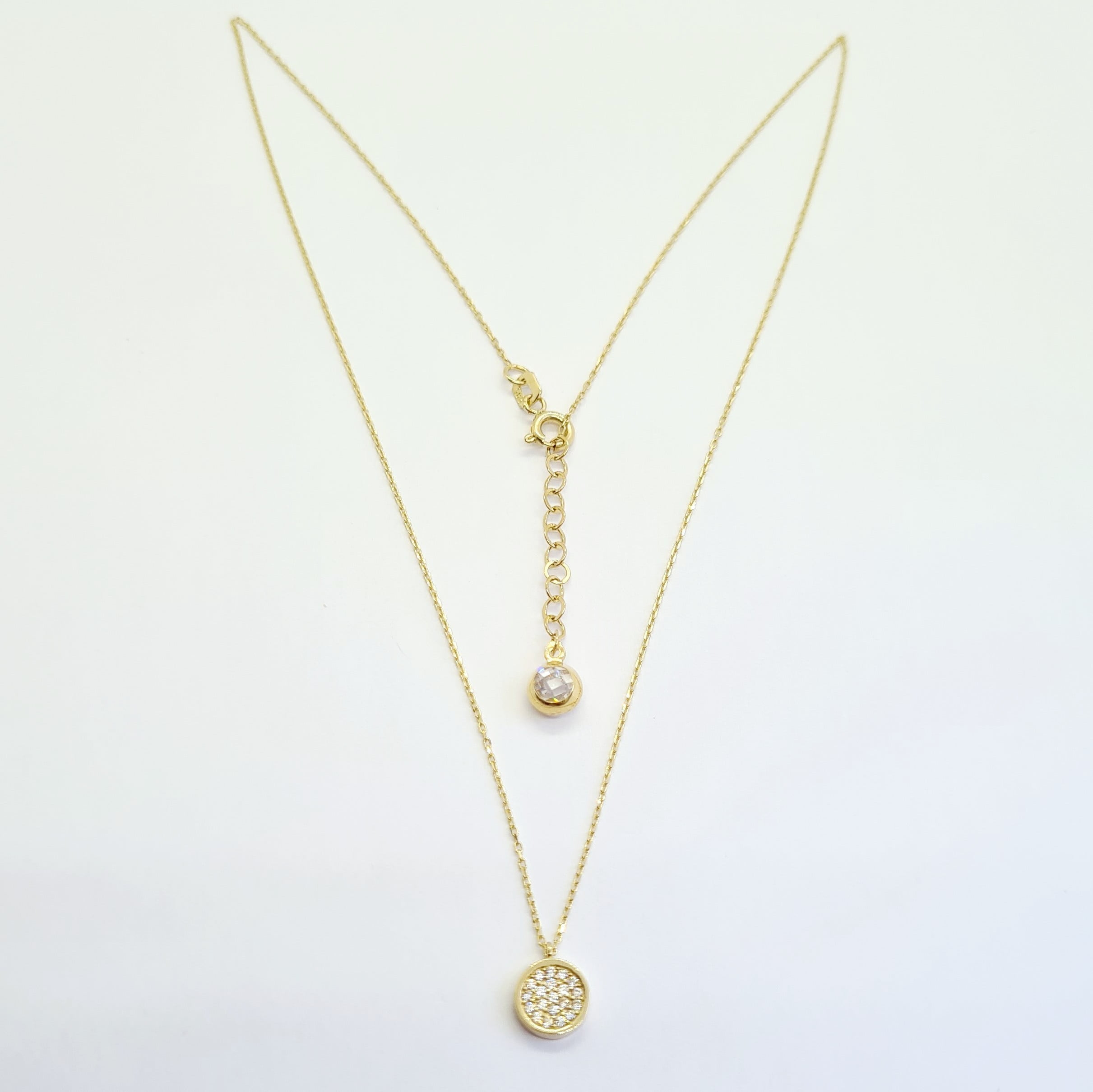 14K Real Solid Gold CZ Pave Round Necklace for Women , CZ Pave Pendant , Handmade Jewelry , Circular Necklace Gold, Round Cubic Zirconia Necklace