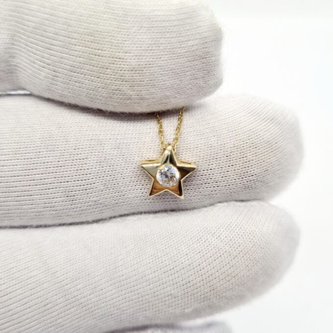 14K Real Solid Gold Star Pendant Necklace | CZ Cubic Zirconia Star Necklaces for Women Birthday Christmas xmas Mother's day gift