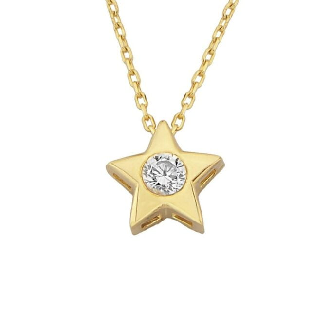 14K Real Solid Gold Star Pendant Necklace CZ Star Necklaces for Women Gift for Her Diamond Cubic Zirconia christmas gift mother's day