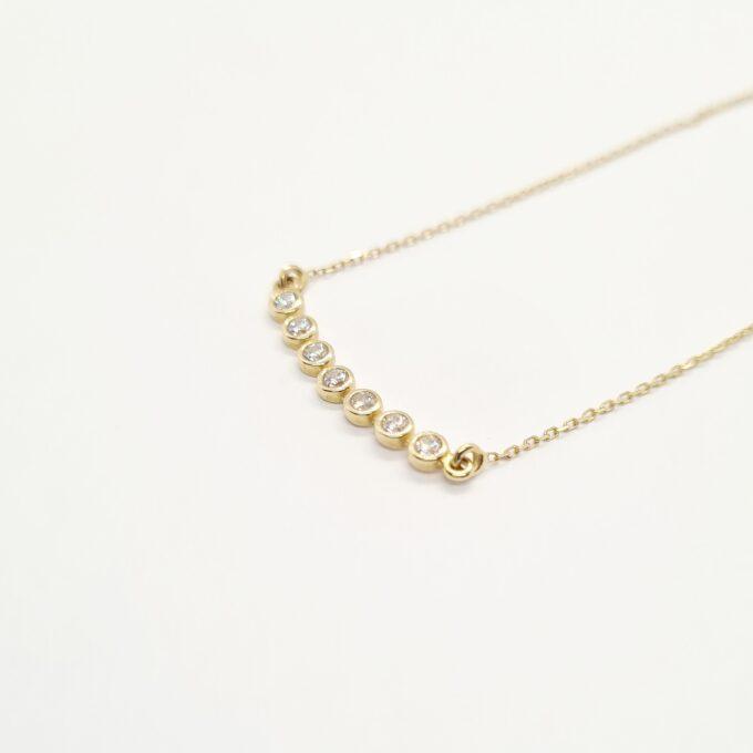 14K necklace Cluster Horizontal bezel tennis Sparkling Round bar Graduated CZ Diamond Cubic Zirconia Dainty eternity pave