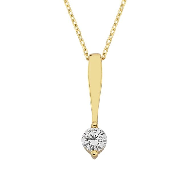 14k Real Solid Gold Sparkling Cubic Zirconia Solitaire Pendant Necklace with Special Extender , Solitaire Jewelry , Solitaire Pendant Necklace , Solitaire Necklace Gold