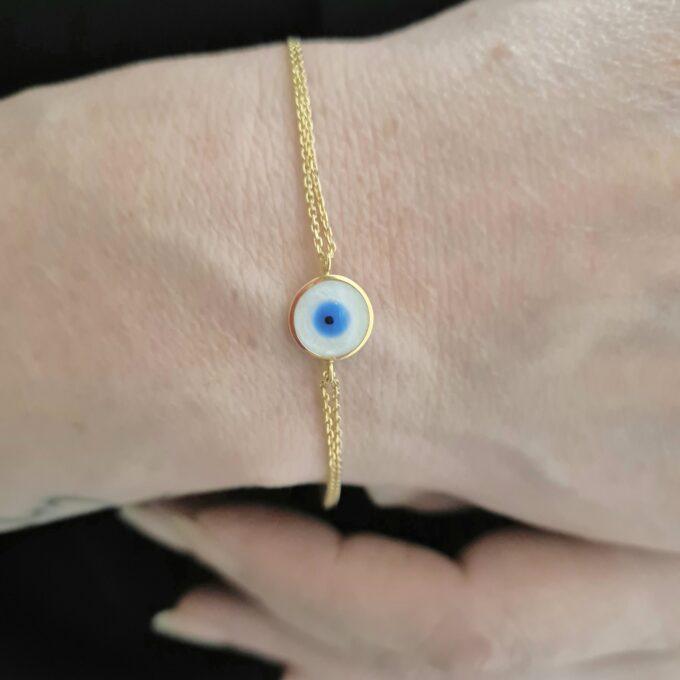 14K Real Solid Gold Evil Eye Mother of Pearl Bracelet for Women, Lucky Gold Bracelet , Christmas gift , Mother's Day Gift , Evil Eye Charm birthday gift.