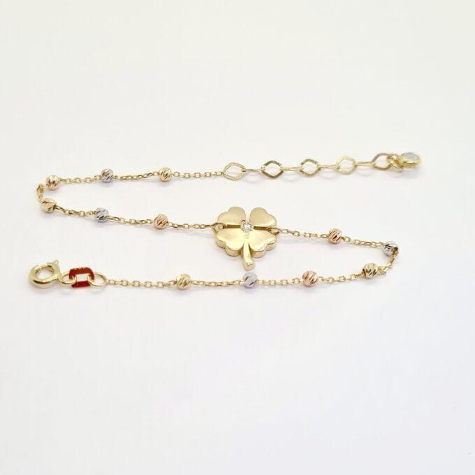 14K Gold Four Leaf Clover Bracelet for Women , Chain Beaded Bracelet , Celtic irish Shamrock Bracelet Gold , Lucky Charm Bracelet , St. Patrick's Day Jewelry