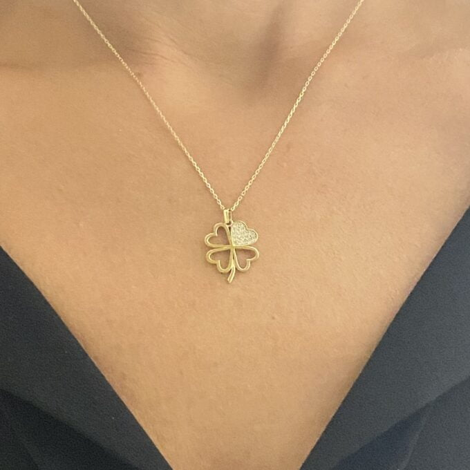 14K Real Solid Gold CZ Four Leaf Clover Pendant Necklace for Women , christmas gifts