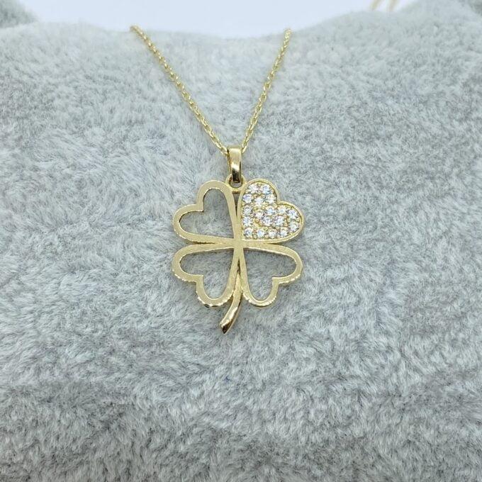 14K Real Solid Gold CZ Four Leaf Clover Pendant Necklace for Women , four leaf necklace gold