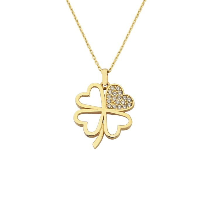 14K Real Solid Gold CZ Four Leaf Clover Pendant Necklace for Women , gift for her