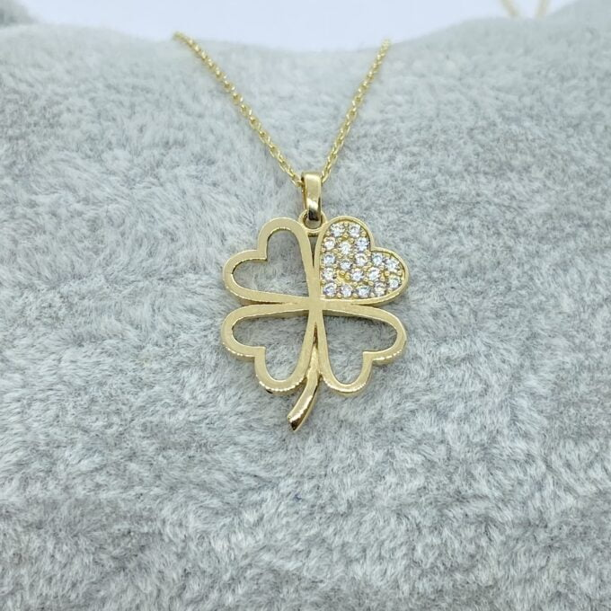 14K Real Solid Gold CZ Four Leaf Clover Pendant Necklace for Women , good luck necklace gold