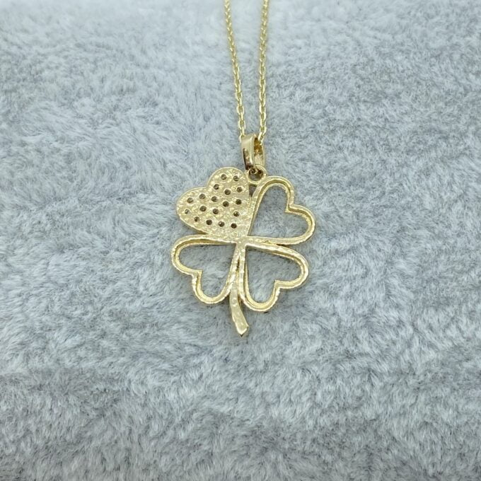 14K Real Solid Gold CZ Four Leaf Clover Pendant Necklace for Women , xmas gifts