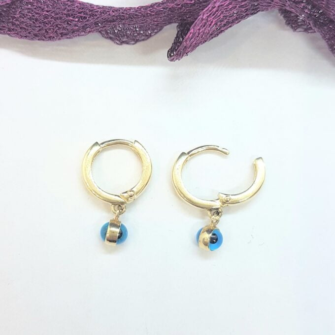 14K Real Solid Gold Two Sided Evil Eye Dangle Drop Earrings for Kids Teen Girls , Nazar Jewelry for Baby , Birthday Gift for Baby Girl