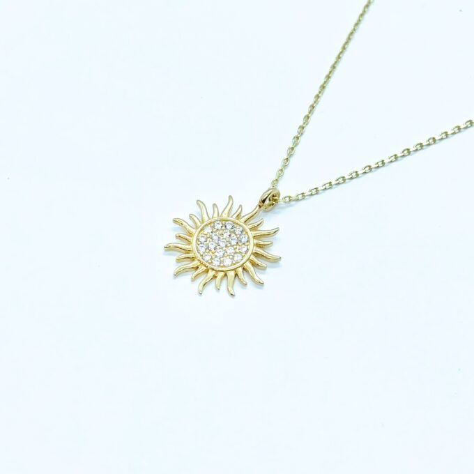 14K Solid gold Sun Pendant Necklace for Women , Sun Necklace Gold , Sun Pendant Gold , Sunshine Necklace , Sun Jewelry , mother's day gift