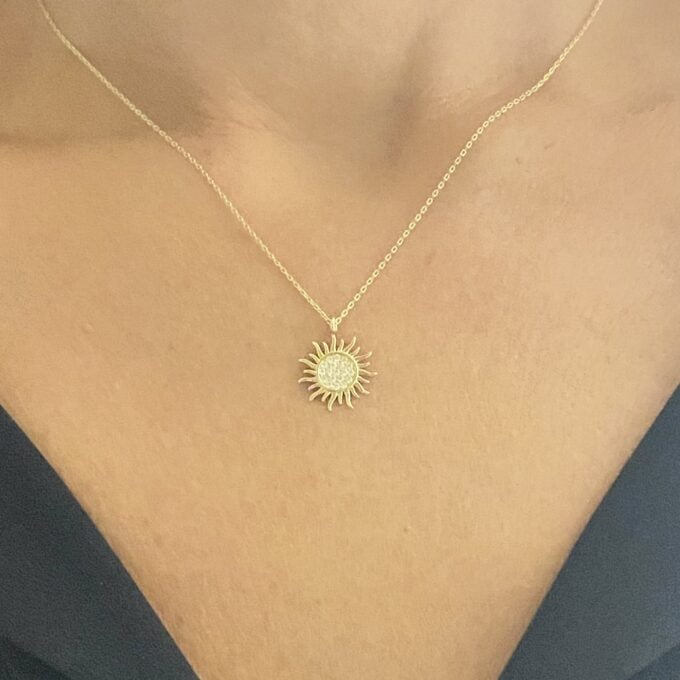 14K Solid gold Sun Pendant Necklace for Women , Sun Necklace Gold , Sun Pendant Gold , Sunshine Necklace , Sun Jewelry , gift for her