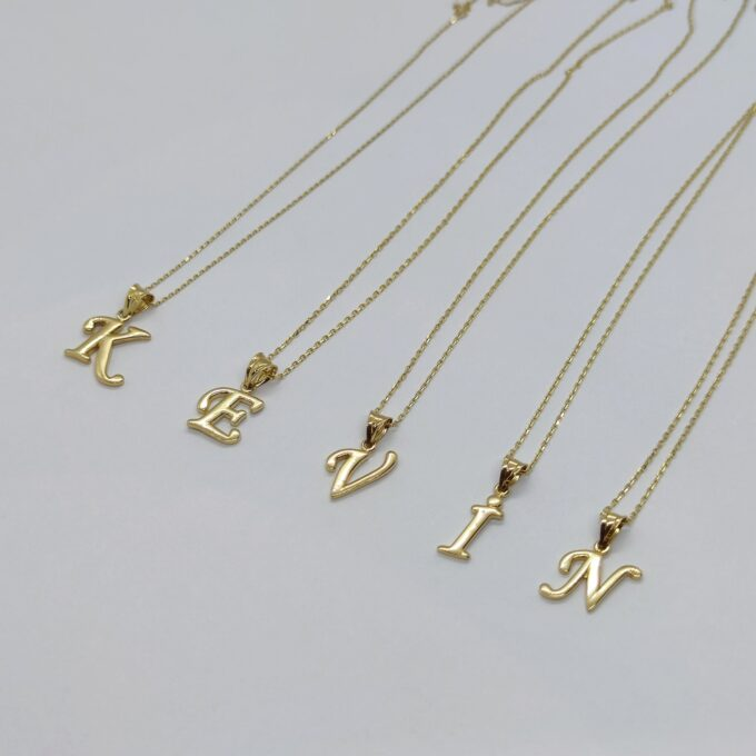 14K solid gold Custom Initial Necklace , 14K Real Solid Gold Initial Pendant Necklace , Personalized Necklace , Charm Initial Pendant , Initial Charms personalized gift