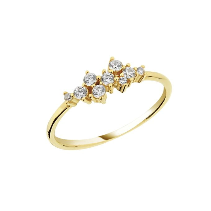 14K Real Solid Gold Cluster Ring for Women ,14K Gold Stackable Ring ,Cluster Ring 14K Gold , Dainty CZ Cluster Stacking Ring, Gift for Her
