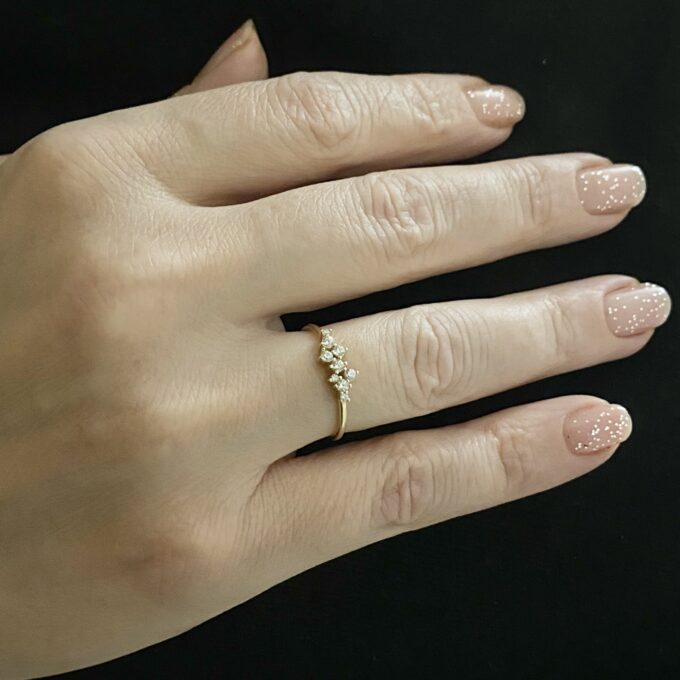 14K Real Solid Gold Cluster Ring for Women ,14K Gold Stackable Ring ,Cluster Ring 14K Gold , Dainty CZ Cluster Stacking Ring, Handmade jewelry