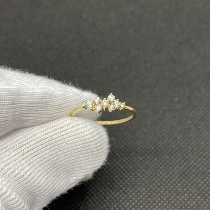14K Real Solid Gold Cluster Ring for Women ,14K Gold Stackable Ring ,Cluster Ring 14K Gold , Dainty CZ Cluster Stacking Ring, Mother's day Gift