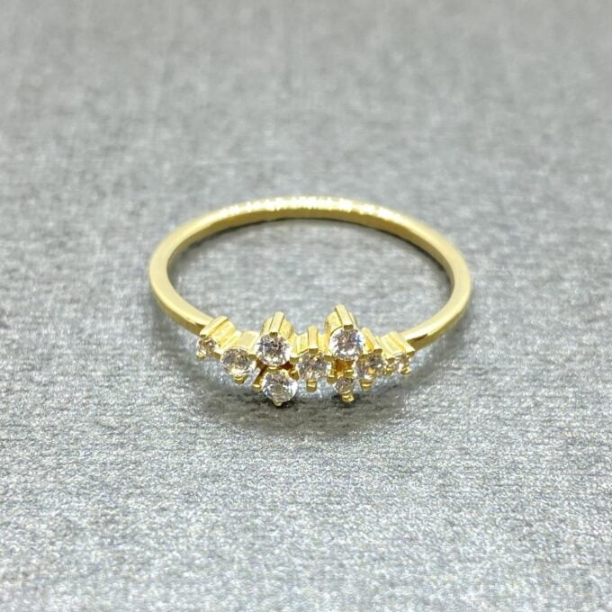 14K Real Solid Gold Cluster Ring for Women ,14K Gold Stackable Ring ,Cluster Ring 14K Gold , Dainty CZ Cluster Stacking Ring, Xmas Gift for her