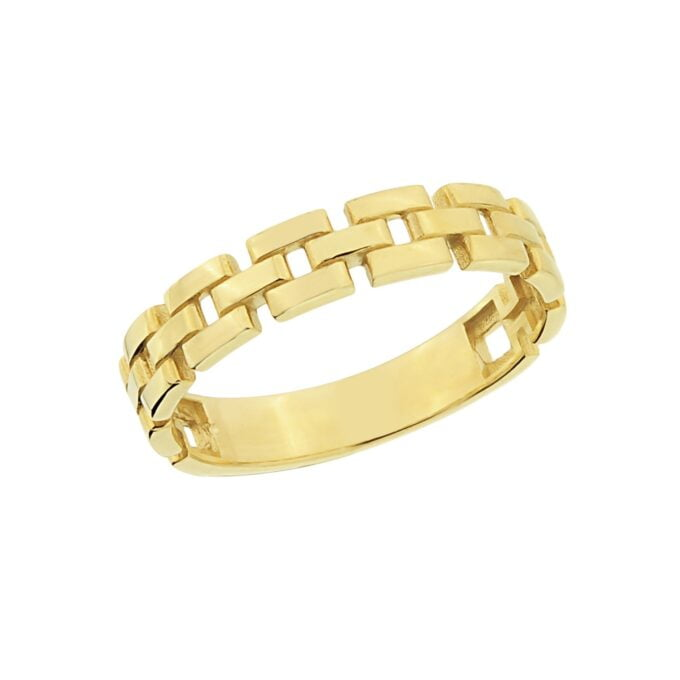 14K Real Solid Gold Stackable Thick Band Ring for Women