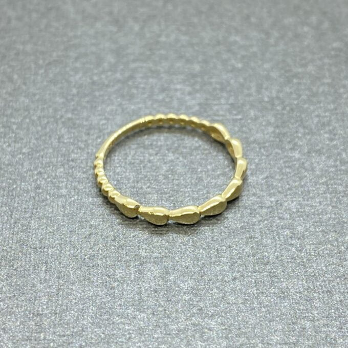 14K Real Solid Gold Teardrop Dotted Ring for Women , Dainty Rings , 14 karat gold ring