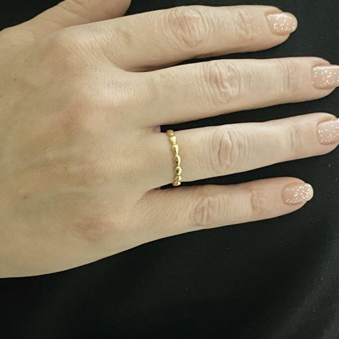 14K Real Solid Gold Teardrop Dotted Ring for Women , Dainty Rings , 14K yellow gold ring