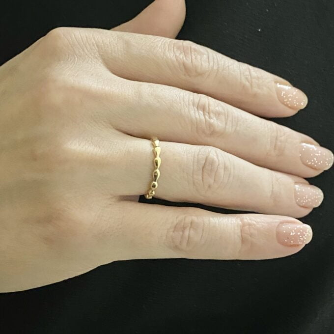 14K Real Solid Gold Teardrop Dotted Ring for Women , Dainty Rings , Mother's day gift