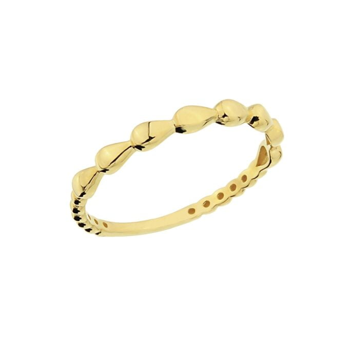 14K Real Solid Gold Teardrop Dotted Ring for Women , Dainty Rings , best birthday gift for her