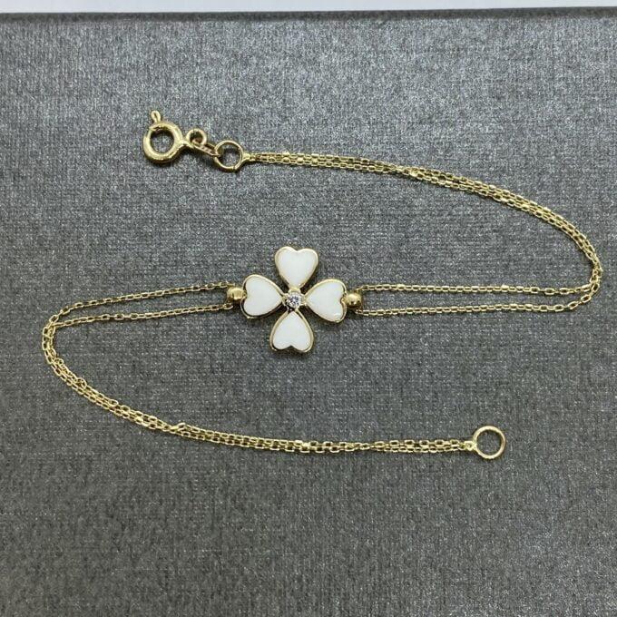 14K Solid Gold Four Leaf Clover Bracelet , Gift for Her ,Four Leaf Green Clover Gold, Charm Bracelet, Gold Clover Bracelet ,Best Birthday Gift for her