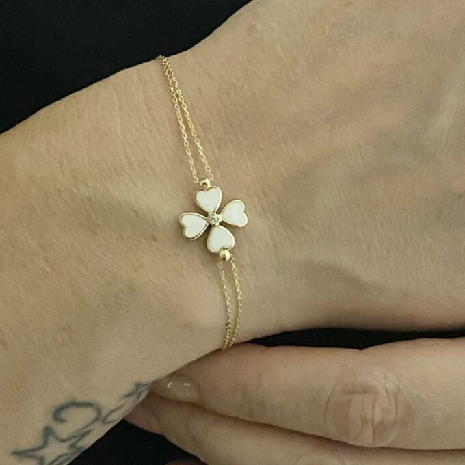 14K Solid Gold Four Leaf Clover Bracelet , Gift for Her ,Four Leaf Green Clover Gold, Charm Bracelet, Gold Clover Bracelet ,Birthday Gift