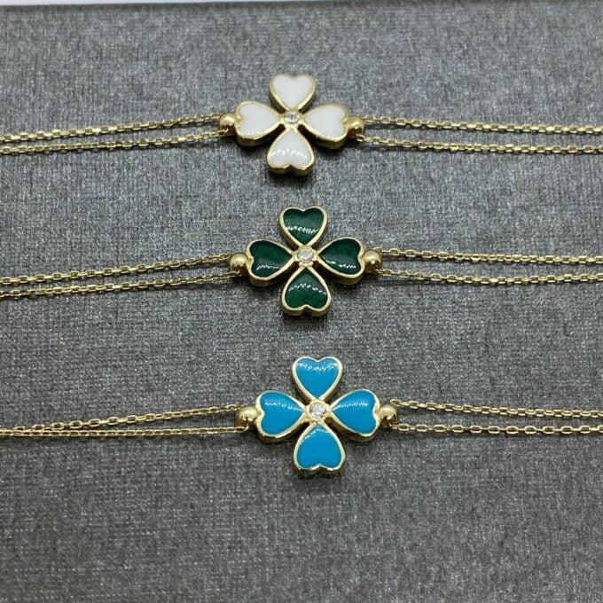 14K Solid Gold Four Leaf Clover Bracelet , Gift for Her ,Four Leaf Green Clover Gold, Charm Bracelet, Gold Clover Bracelet ,Handmade Jewelry, birthday gift