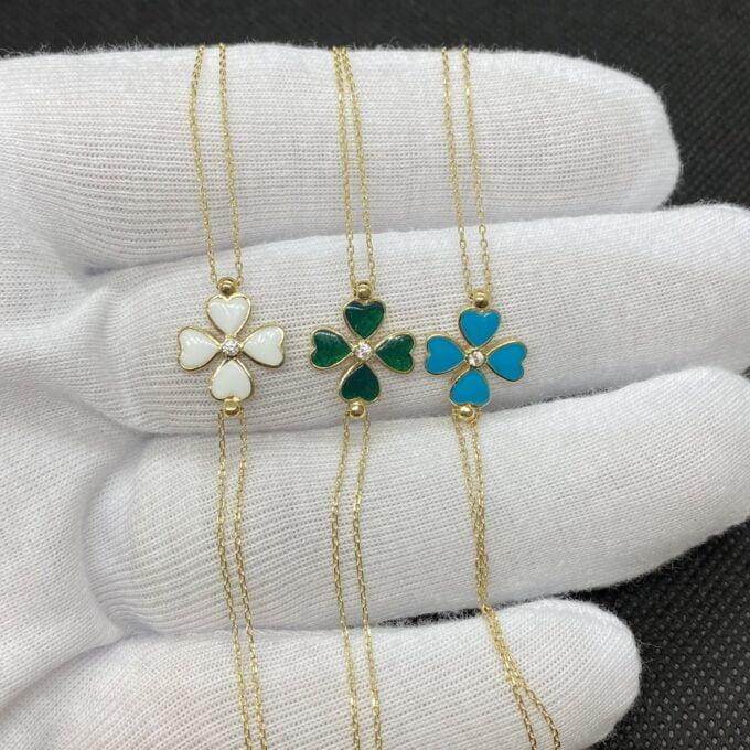 14K Solid Gold Four Leaf Clover Bracelet , Gift for Her ,Four Leaf Green Clover Gold, Charm Bracelet, Gold Clover Bracelet ,Women's Bracelet